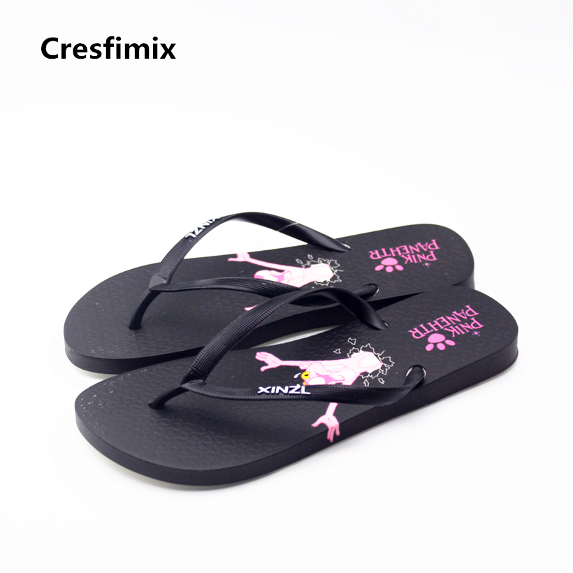 Cresfimix mujeres flip flops women cute high quality cartoon character print flip flops lady spring & summer beach flip flops cresfimix women cute spring