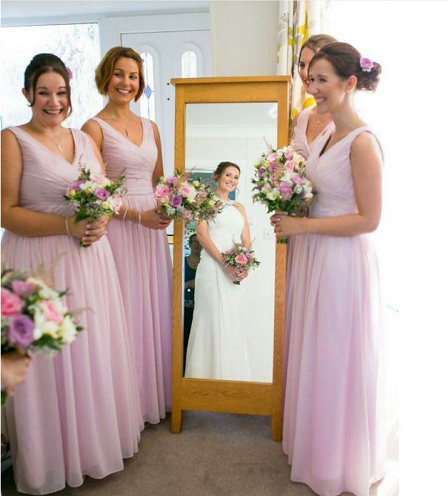 Baby pink v neck bridesmaid gowns navy bluepeachivorychampagne baby pink v neck bridesmaid gowns navy bluepeachivorychampagnesilveryellowhunter chiffon bridesmaid dresses fast shipping in bridesmaid dresses from ombrellifo Image collections