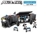 Estación de policía swat soldados serie militar 3d modelo de bloques de construcción coche de mando compatible con lego city boy manías del juguete de regalo