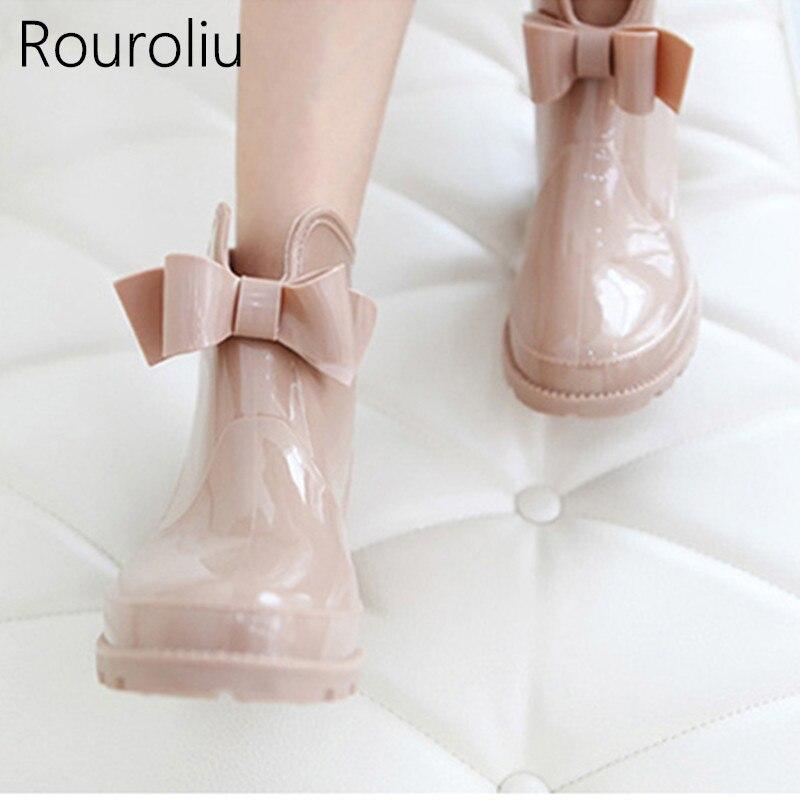 Rouroliu Bowtie Tornozelo Botas De Chuva Das Mulheres Rainboots Salto Plana Não-deslizamento Brilhante À Prova D' Água PVC Mulher Sapatos de Água Galochas TS119