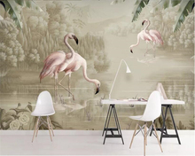 Beibehang Custom Photo wallpaper Landscape modern minimalistic hand drawn watercolor plant flamingo decorative painting 3d mural
