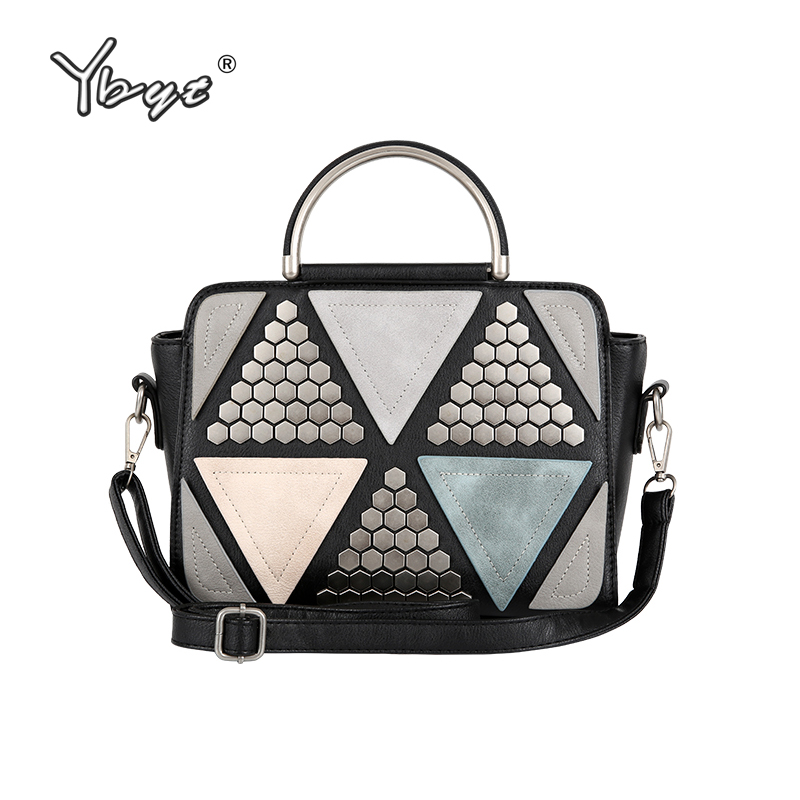 купить YBYT brand 2018 new patchwork casual rivet totes women shopping handbag hotsale ladies fashion shoulder messenger crossbody bags по цене 1270.19 рублей