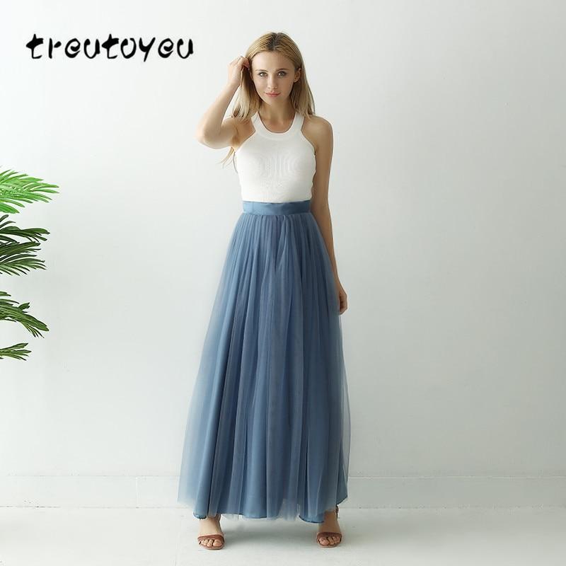 US $17.99 40% OFF|Treutoyeu 3 Layers Maxi Long Skirt Soft Tulle Skirt Plus  Size Tutu Skirt Women Dust Blue Long Skirt Ball Gown Jupe Saias Faldas-in  ...