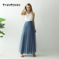 Treutoyeu 3 Layers Maxi Long Skirt Soft Tulle Skirt Plus Size Tutu Skirt Women Dust Blue Long Skirt Ball Gown Jupe Saias Faldas