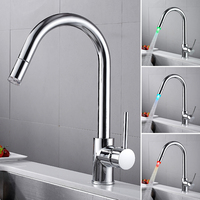 LED Kitchen Faucet Pull Down Single Handle Deck Mount Faucet for Kitchen Mixer Tap