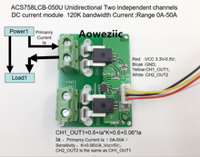 Aoweziic ACS758LCB-050U ACS758LCB ACS758 Unidirectional Two independent channels DC current detection module Rang:0A-50A