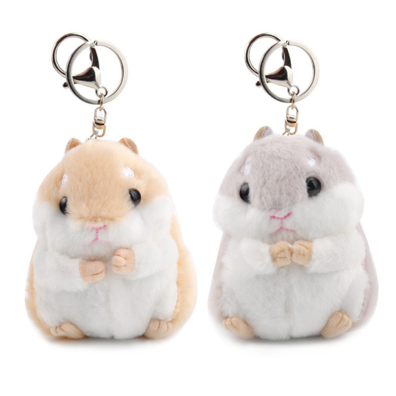 Kawaii Cute Hamster Plush KeyChain Toy Cartoon Animal Small Doll Key Chain Pendant Stuffed Mouse Baby Kids Toy(China)