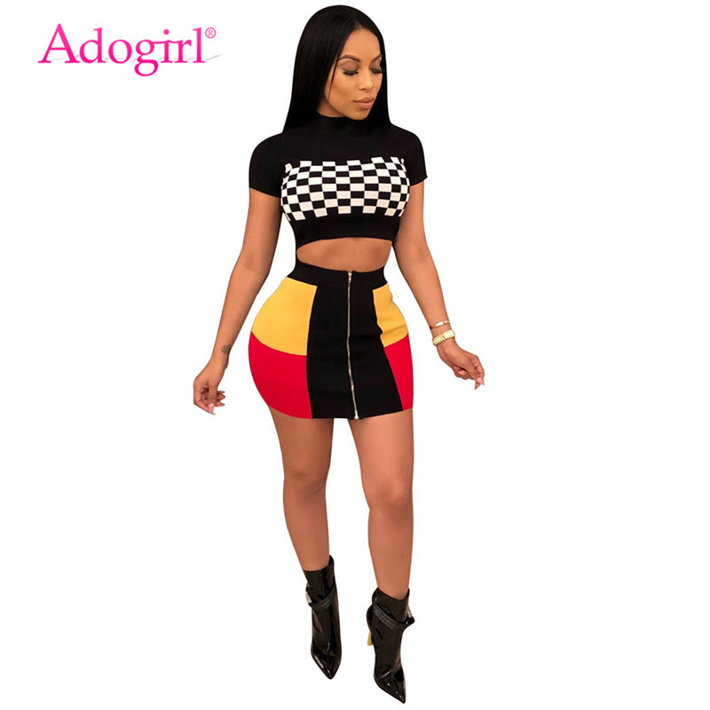 Adogirl Women Sexy Two Piece Set Checkerboard Plaid Short Sleeve T-shirt Crop Top Color Patchwork Zipper Mini Skirt Club Outfits