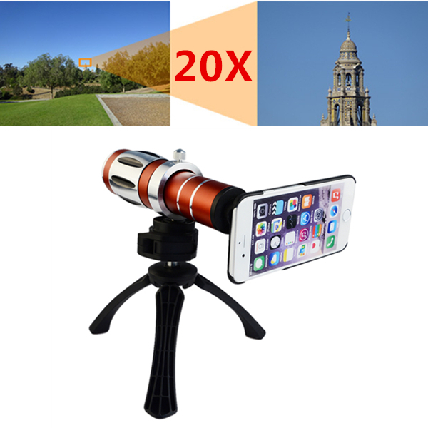 High end 3in1 20x Optical Zoom Telephoto Telescope Lens Kit For iPhone 4 4s 5 5s SE 6 6s 7 Plus Tripod Cases Phone Camera Lenses