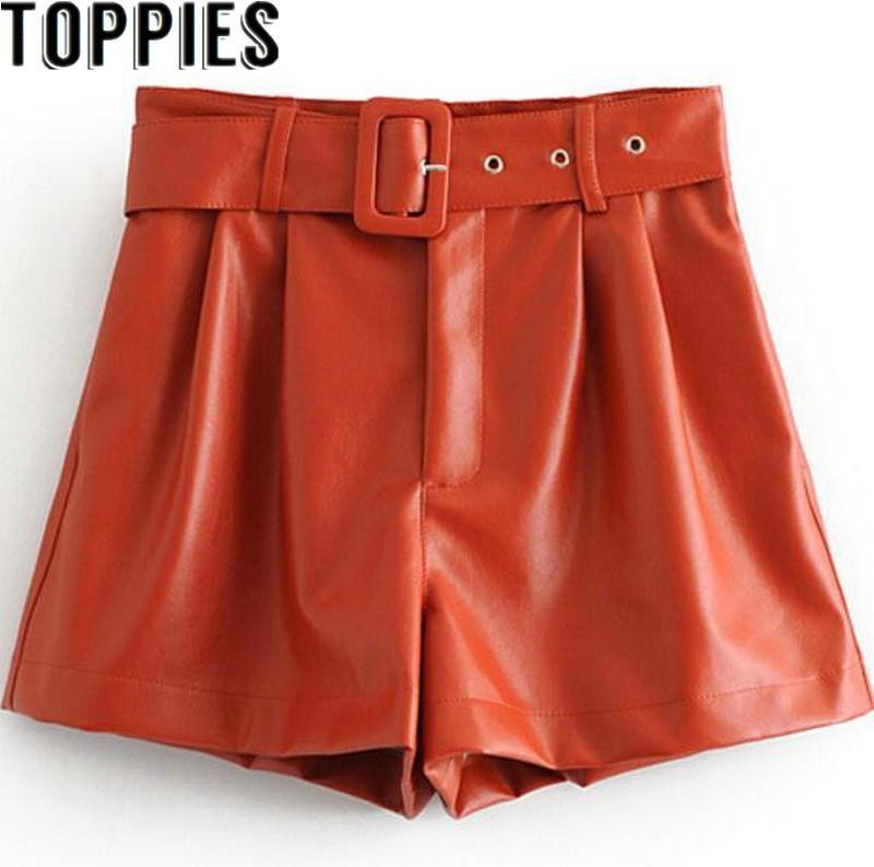 2019 Winter New Women Orange Color PU Bermuda Shorts Faux Leather Belted Shorts