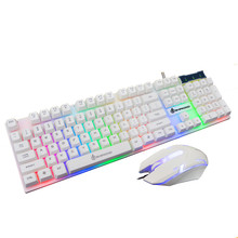 Professional LED Rainbow Color Backlight Adjustable Gaming Game USB Wired Keyboard Mouse Set Combo 20A Drop Shipping