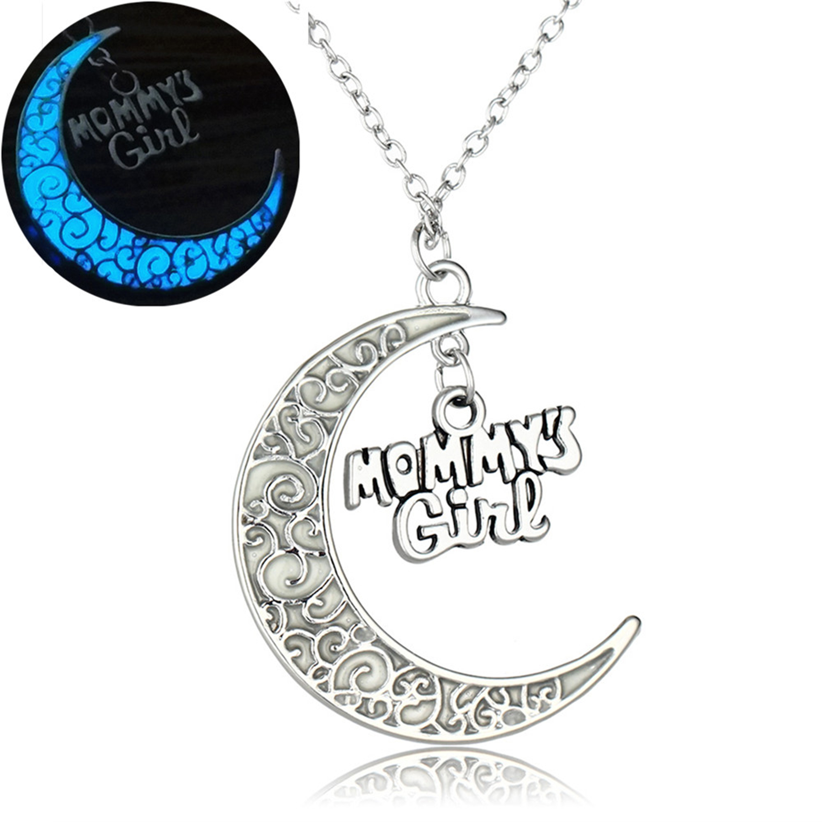 Glow in the dark jewelry silver color with crescent letter of glow in the dark jewelry silver color with crescent letter of mommy noctilucent pendant necklace for mothers day gift aloadofball Image collections