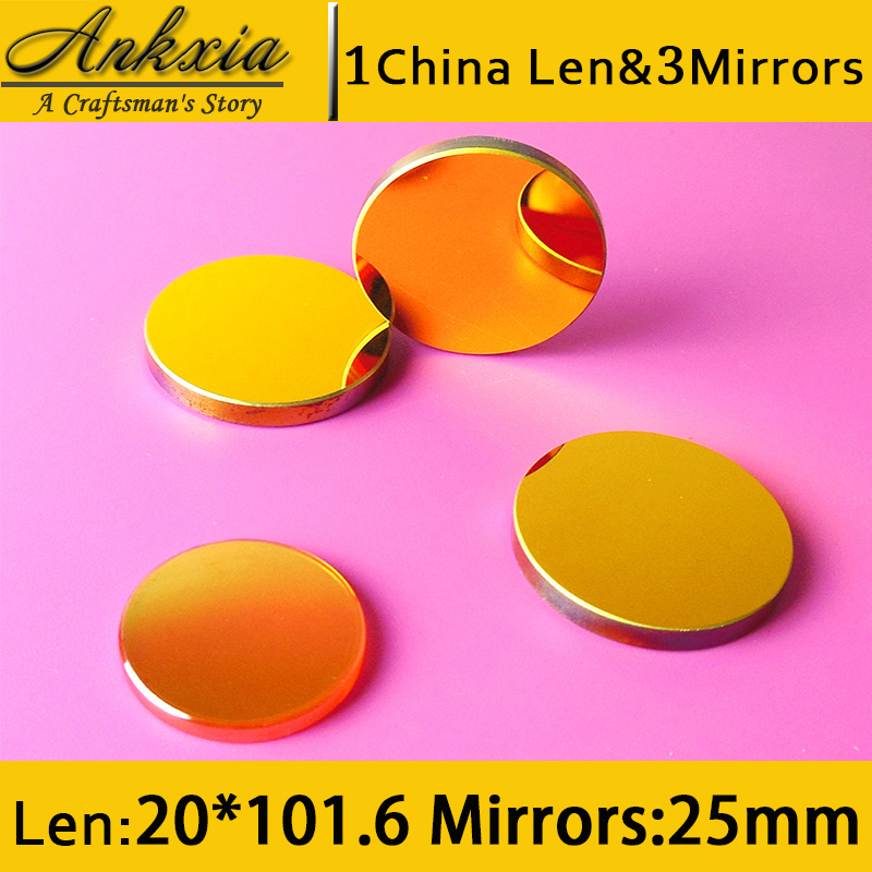 1PCS Dia 20mm Length 101.6mm China ZnSe Co2 Laser Focus Len and 3PCS 25mm Silicon Mirrors for Cutter Engraving Machine 3pcs 25mm dia si coated gold silicon laser reflection mirrors for laser cutting engraving machines