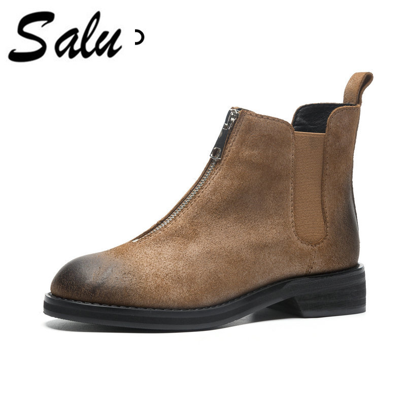 Salu 2018 Genuine leather ankle Women boots Half Short Boots Winter Zipper Shoes Woman High Heel Boots Ladies Shoes цена