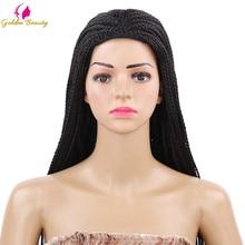 Золотой красивый 22 дюймов длинный плетеный ящик косички парик натуральный черный коричневый синтетический плетение волос парик для африканских женщин