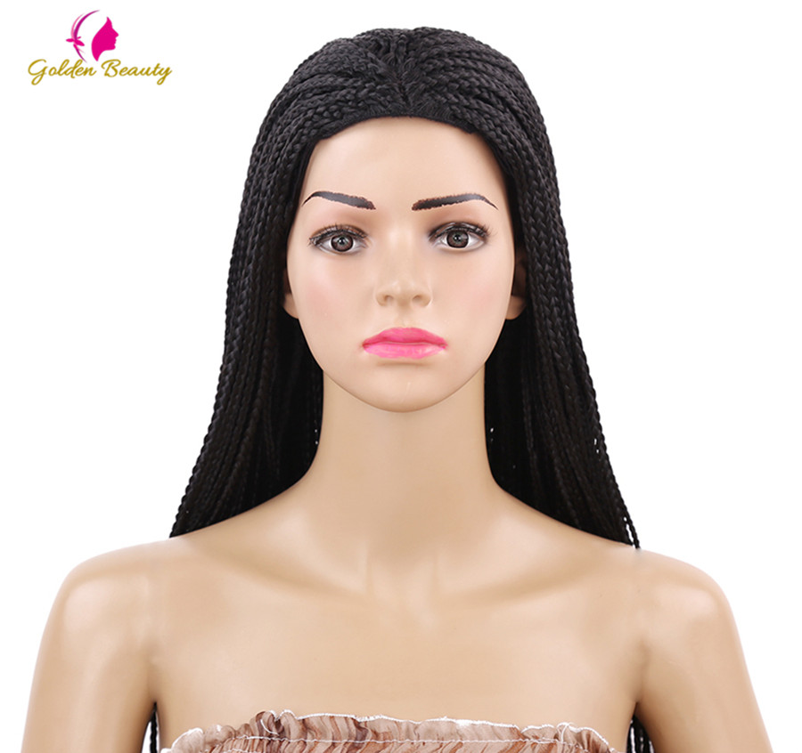 Golden Beauty 22inch Long Braided Box Braids Wig Natural Black Brown Synthetic Braiding Hair Wig For African Women