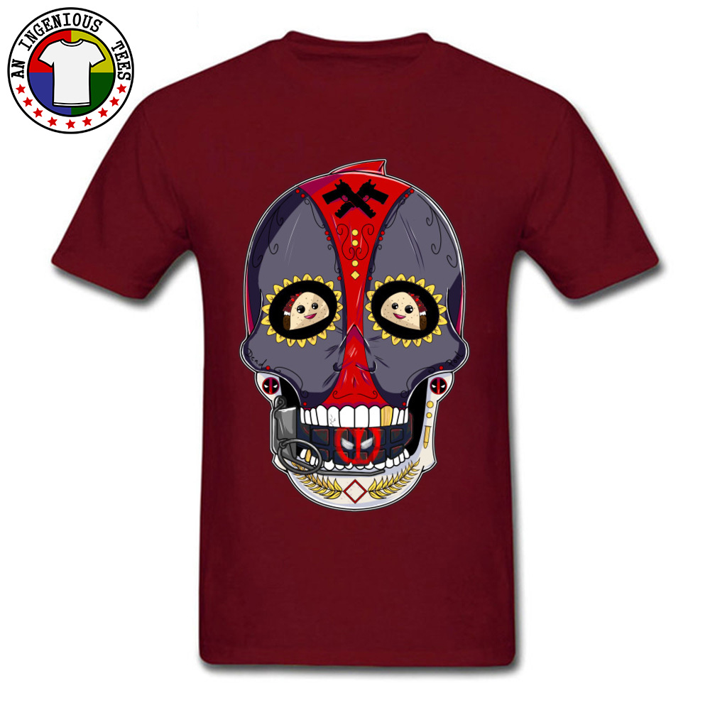 Tees Deadpool Sugar Skull 1226 T-Shirt Summer Fall Company Normal Short Sleeve All Cotton Round Neck Men's T-Shirt Normal Deadpool Sugar Skull 1226 maroon