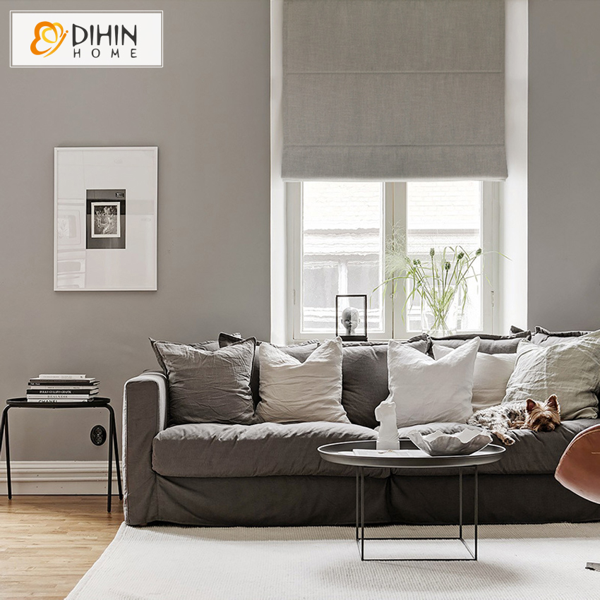 DIHIN HOME Linen/Cotton Included Curtains New Arrival High Quality Pure  Color Roman Shade Blinds
