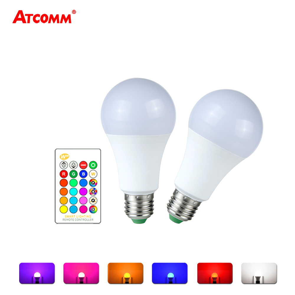 E27 Ampoule Ampoule Led E27 Rgb Rgbw Led Bulb 85 265v 5 Levels Dimmable E27 Globe Bubble Lamp A50 A60 Spotlight With 24 Key Rgbw Controller