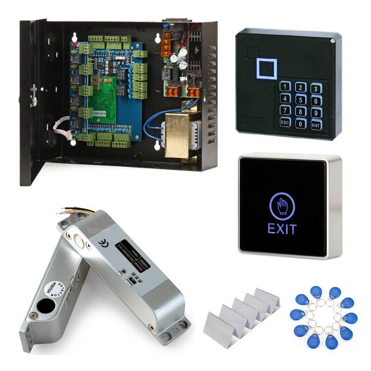 Kit de contrôle d'accès aux portes carte de contrôle d'accès serrure électrique lecteur ID125khz boîtier d'alimentation interrupteur de porte 10 porte-clés 10 carte d'identité