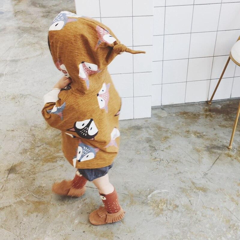 Новорожденных Куртки для маленьких девочек Пальто для будущих мам мультфильм лиса плащ с капюшоном для малышей Обувь для девочек куртка дл...