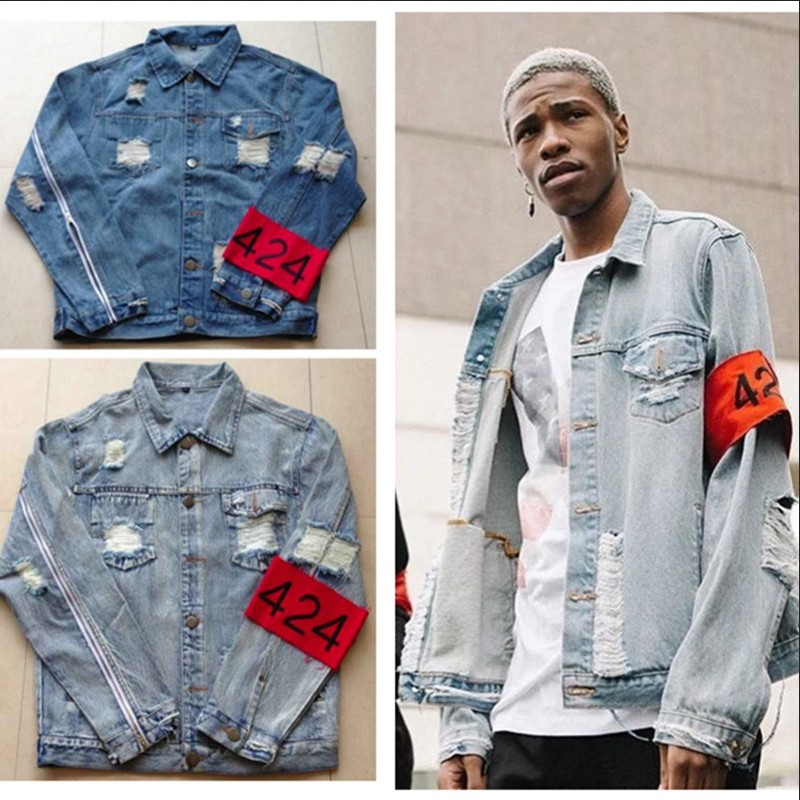 424 Retro Destroyed washing with Zipper Denim Jacket To Do the old Hiphop clothing font b