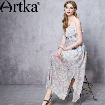 695adac9fa5 Artka женская летний новый цветочный печатный шифон ремень империи талии  пят платье с оборками LA11060X