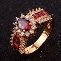 New Fashion Luxury Jewelry Unisex Ring Fancy Red Stone Yellow Gold Filled Best Designer Party Ring for women R013YRG