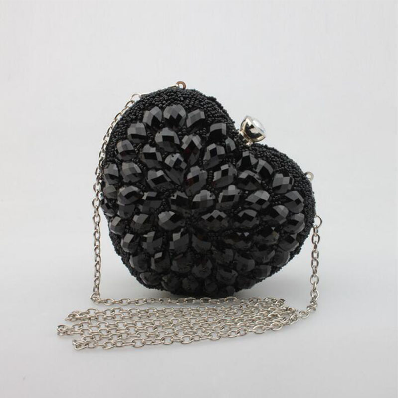 ФОТО 2016 womens evening clutch diamond heart shaped evening bags glitter gold silver bling women wedding beaded purse party bag 672t