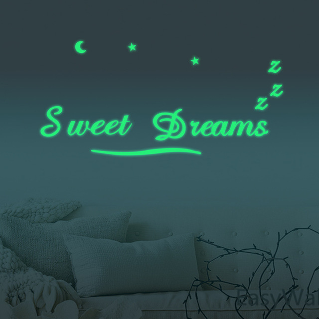 Modern Wall Sticker Sweet Dreams Pack Glow In The Dark Vinyl Art Mural Wall  Quote Saying