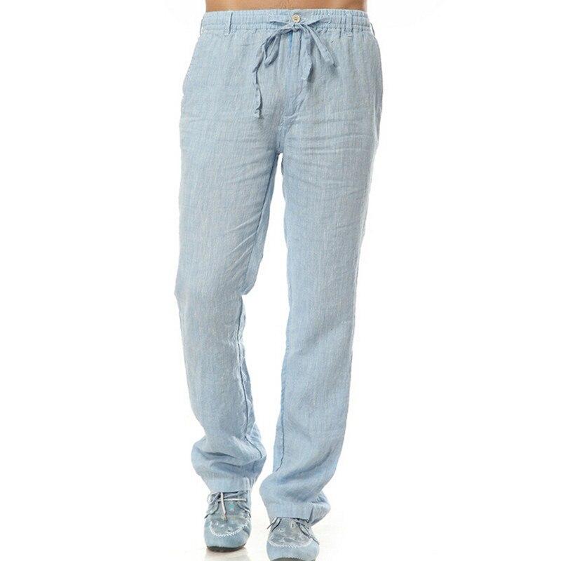ba2042f6351a 2016 Summer Leisure Trousers 100% Linen Cotton Elastic Waist Men Pants Men  Casual Pants