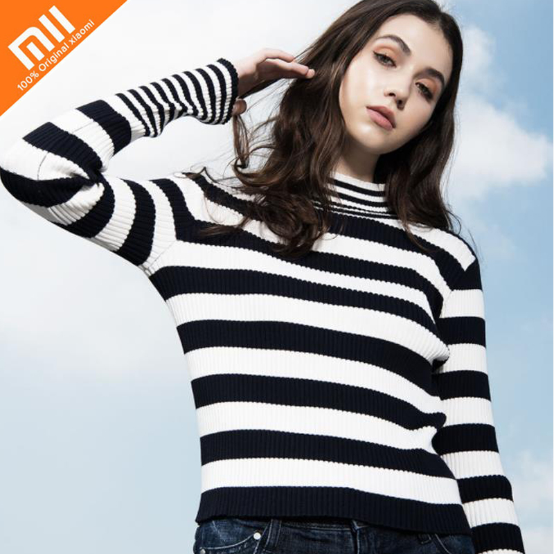 Original Xiaomi mijia PPT classic striped sweater fashion versatile stretch Slim ladies sweater can be worn Long sleeve knitwear цена 2017