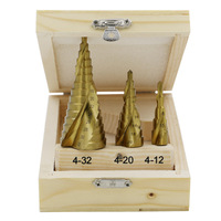 4 32mm 3pcs 1 Set The Pagoda Shape HSS Drilling Triangle Shank Metalworking High Speed Steel