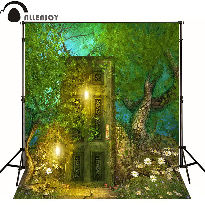 Allenjoy photographic children background Retro mysterious forest gate christmas backdrops for photo studio