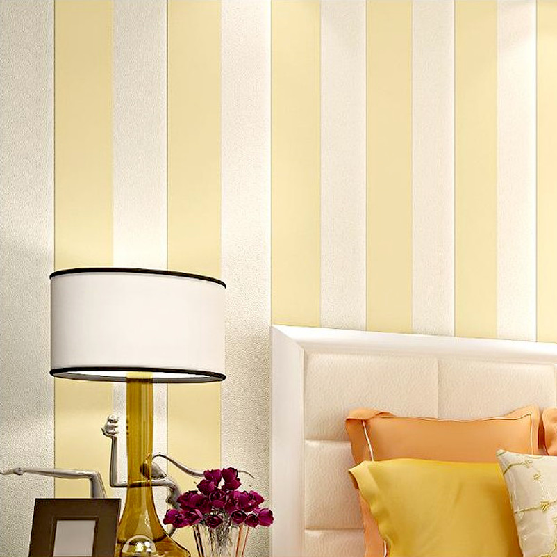 Simple Wide Vertical Stripes Wallpaper For Walls Yellow Beige and ...