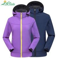 LoClimb Camping Hiking Jackets Men Women Outdoor Sports Fleece Coats Climbing Trekking Sports Softshell Waterproof Jacket AM346
