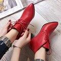 Новая осень мода Мартин сапоги женские случайные сапоги точка toe теплые ботинки