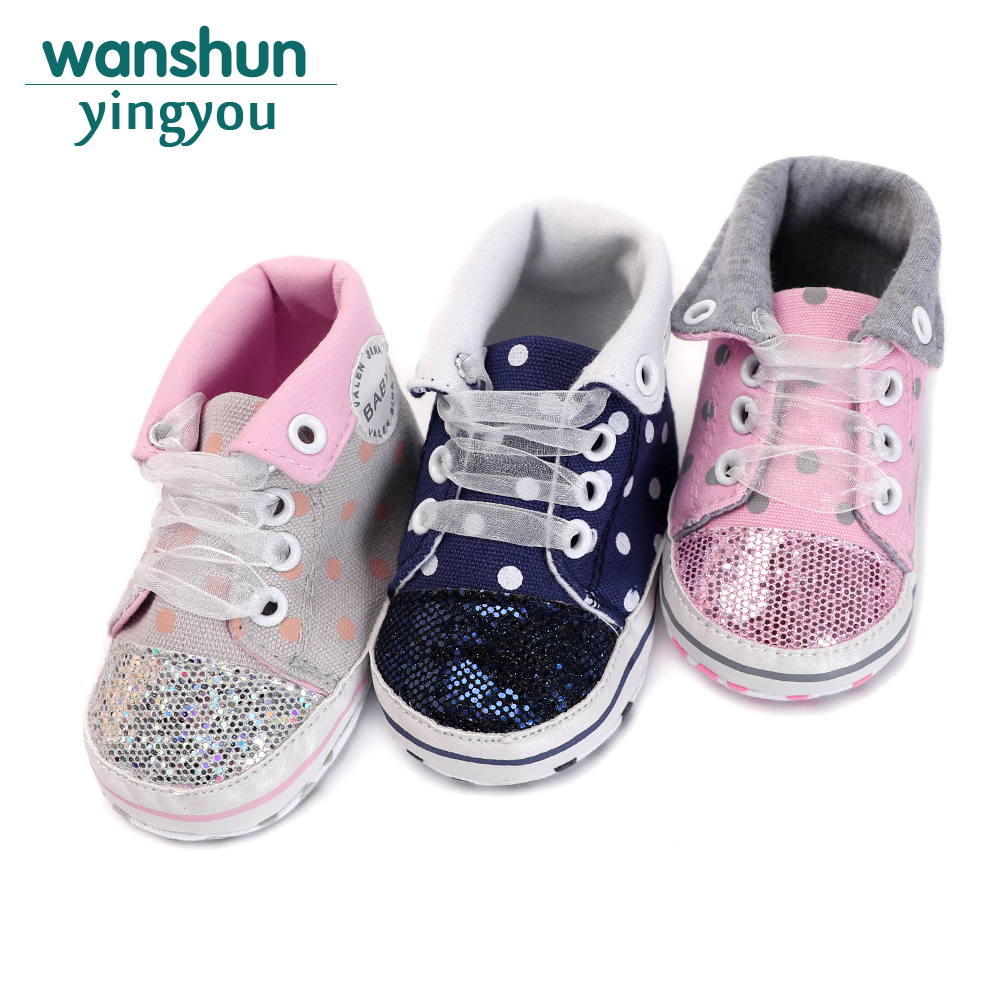 Spring/Autumn High-top Baby Shoes Boy Girl Polka Dot Riband Sparkle Toddler Crib Soft Sole Canvas Anti-slip First Walkers