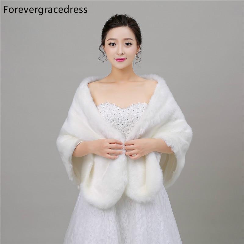 Forevergracedress 2018 New Style Autumn Winter Faux Fur Wedding Wrap Bolero Jackets Bridal Coat Cape Cloak Shawls Scarves