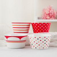 1pc Kawaii Red Bowl Hand Painted Rice Bowl For Children Kids Ceramic Soup Bowl Cartoon Tableware