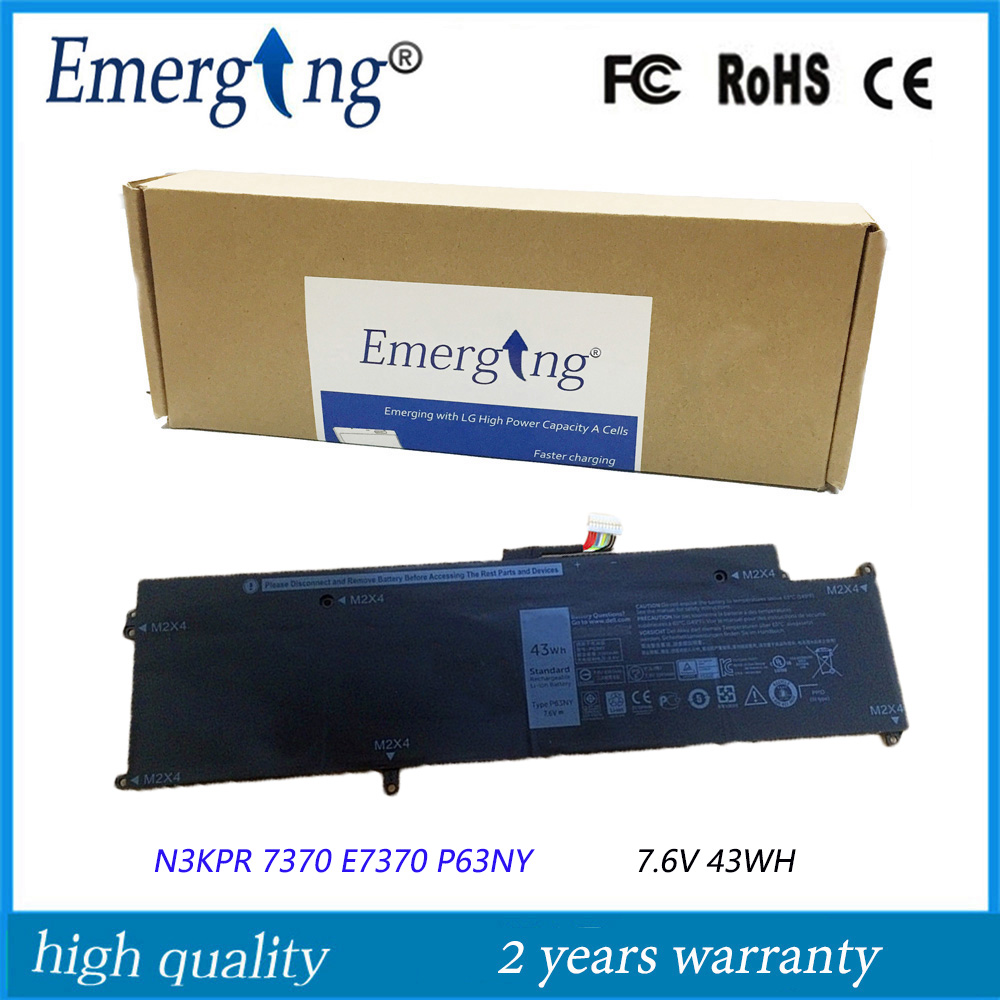 7.6V 43WH New Original Laptop Battery for Dell Latitude 13 7370 E7370 N3KPR P63NY new original 11 1v 43wh d2vf9 0pxr51 battery for dell inspiron 15 7547 free shipping