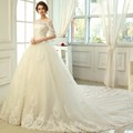 New Fashionable Elegant Boat Nack Beading Appliques Bride Gown Luxury Royal Train Half Sleeve Wedding Dress 2016 Custom For Sale