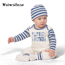 Newborn Baby Rompers Striped Long-sleeved Clothes Rompers+Hat Infant 2pcs Toddler Clothing