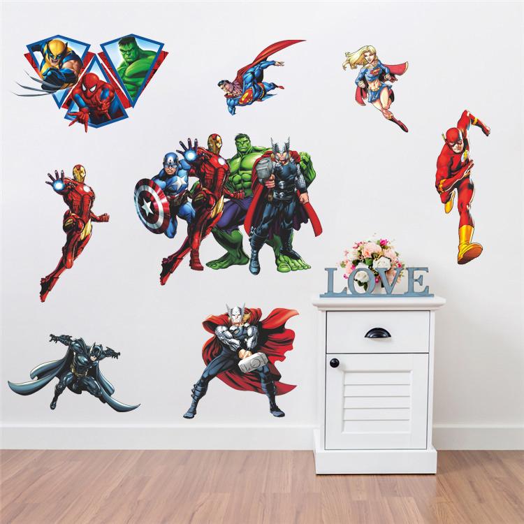 HTB1k3jFEv5TBuNjSspcq6znGFXa5 - Kids Gift Avenger Iron Man Hulk Justice League Wall Stickers