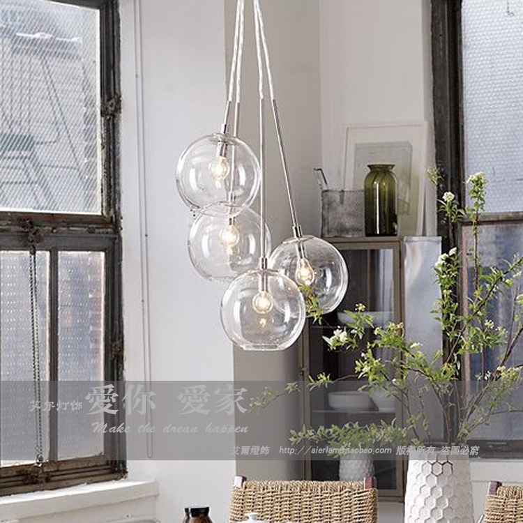 American Cluster Glass Pendant Transparent Round Ball