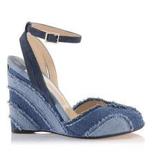 High Heels Gladiator Sandals Open Toe Sexy Lady Denim Blue Pumps Woman Wedges Shoes Female Jeans Sandals Shoes Cowboy Designer