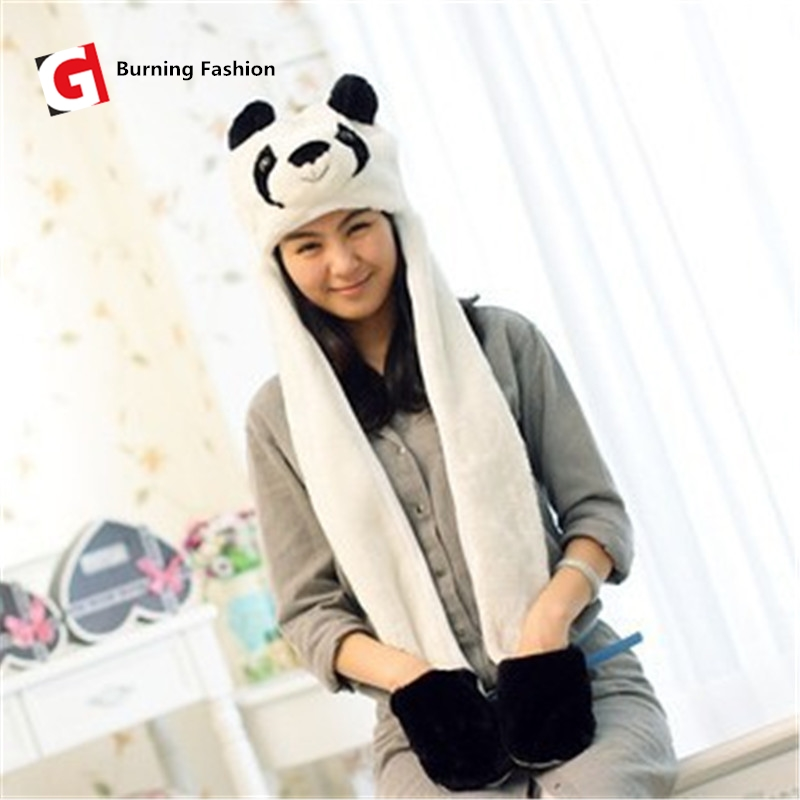 Burning Fashion New warm animal bath cap Panda pin giraffe cute cartoon plush cap earmuffs long scarf gloves adult ladies men