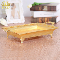 Metal Gold Fruit Serving Tray Golden Candy Plate Dessert Blows For Decorative Plates And Home Decoration