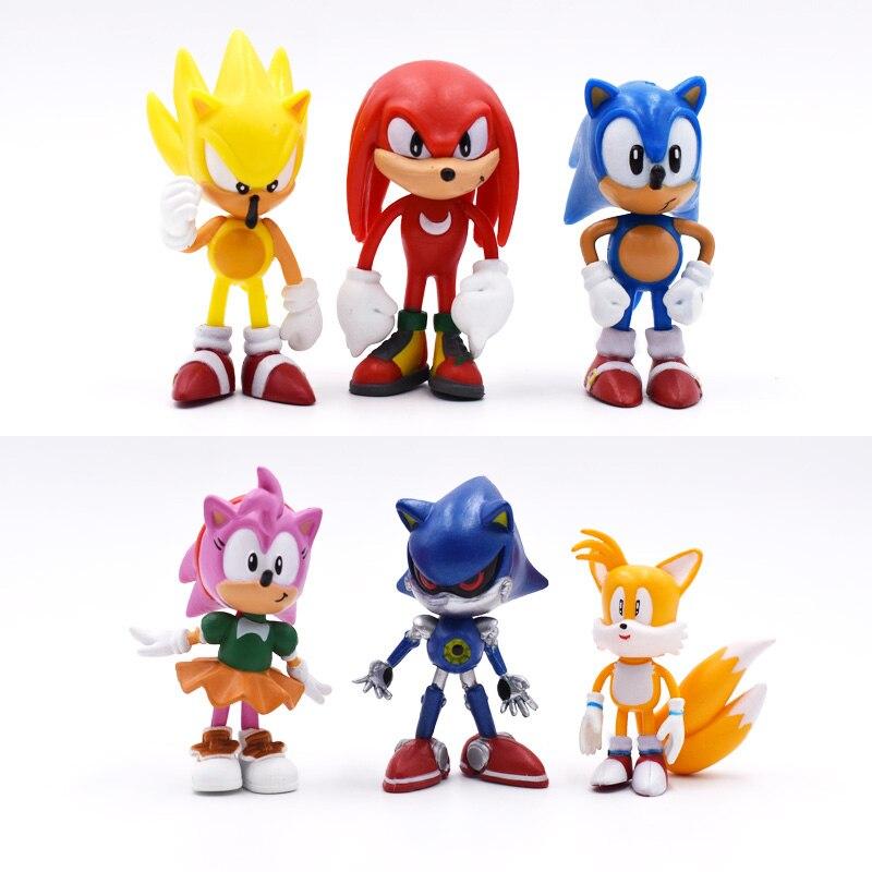 6 teile/satz 7 cm Sonic Figuren Spielzeug Pvc Spielzeug Sonic Schatten Tails Zeichen Abbildung Spielzeug Für Kinder Tiere Spielzeug Set freies Verschiffen