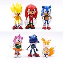 Figuras de Sonic de 7cm para niños, 6 unidades por juego, juguete de Pvc, personajes de Sonic, Shadow, Tails, Envío Gratis